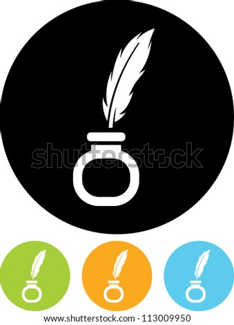 Inkstand with Writing Feather Pen - Vector icon isolated - stock vector