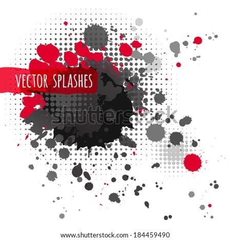 Inky halftone splashes. Isolated. - stock vector