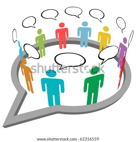 Inner circle business people talk meet in a social media network speech bubble - stock vector