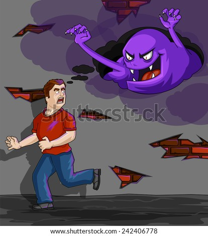 Inner Demons - Man running away from fear/ terror in his mind - stock vector