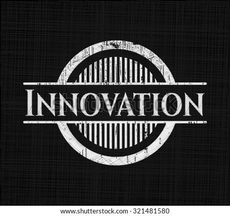 Innovation chalkboard emblem - stock vector