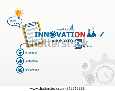 Innovation concept and notebook. Hand writing Innovation with blue marker - stock vector