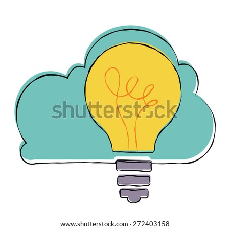 Innovation concept. Light bulb with cloud. - stock vector