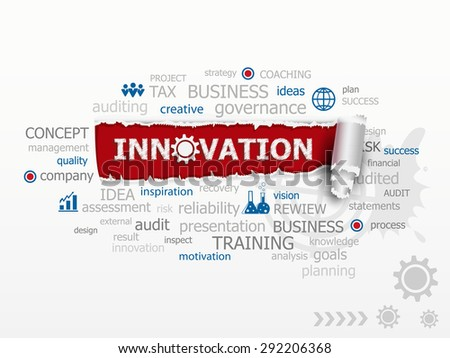 Innovation concept word cloud. Design illustration concepts for business, consulting, finance, management, career. - stock vector
