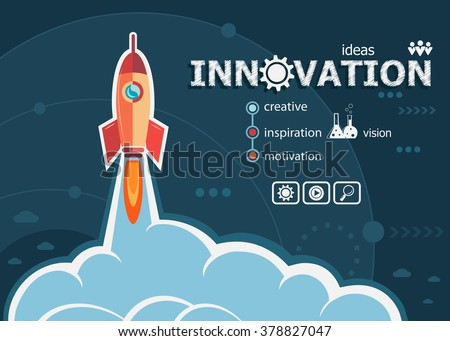 Innovation design and concept background with rocket. Innovation concepts for web banner and printed materials.