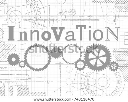Innovation sign and gear wheels technical drawing on graph paper background
