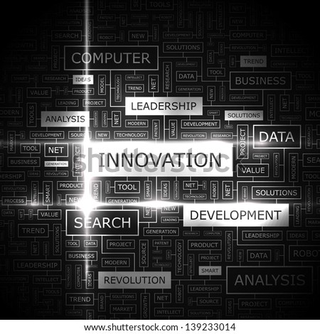 INNOVATION. Word cloud concept illustration. - stock vector