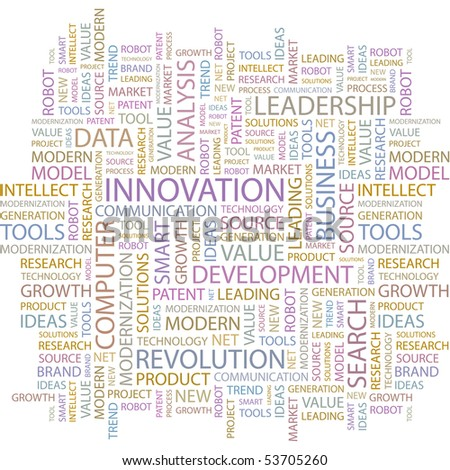 INNOVATION. Word collage on white background. Vector illustration. - stock vector