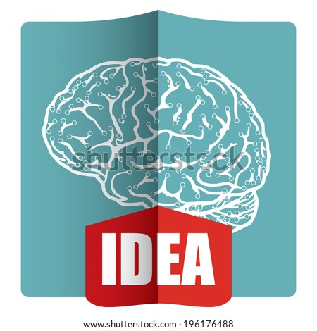 Innovative idea - template with abstract human brain illustration - stock vector