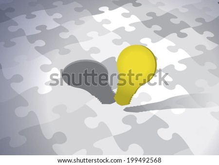 Innovative Solution. Innovation concept with yellow light bulb as the missing piece of the puzzle. Fully scalable vector illustration. - stock vector
