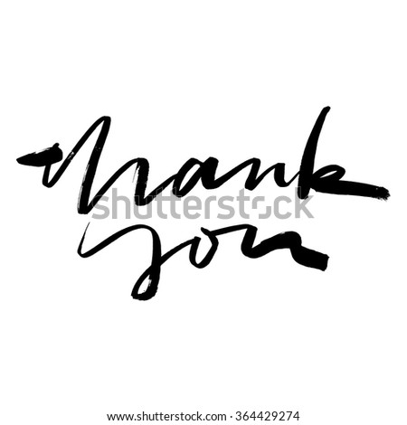 Inscription for a card. Calligraphy. Hand lettering. Modern. Thank you. - stock vector