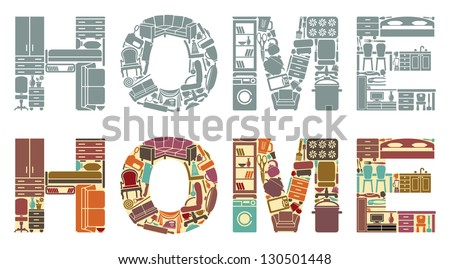 Inscription �«Home�» from icons of household goods - stock vector