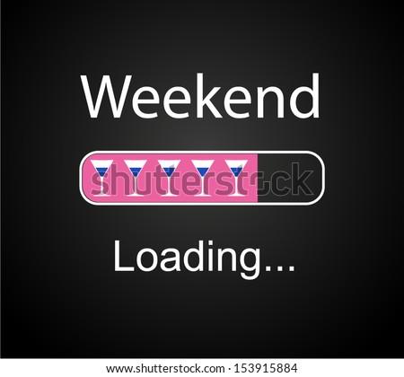 "inscription ""loading Weekend"" vector concept illustration background  - stock vector"