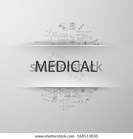 inscription medicine with formulas on the background - stock vector
