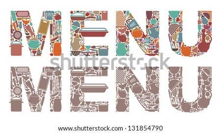 """Inscription """"menu"""" from symbols of ware and kitchen utensils - stock vector"""