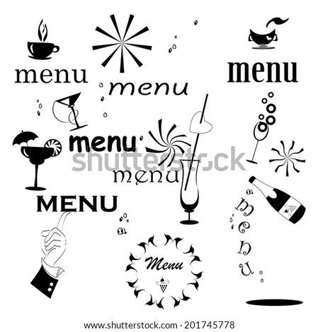inscription menu set - stock vector