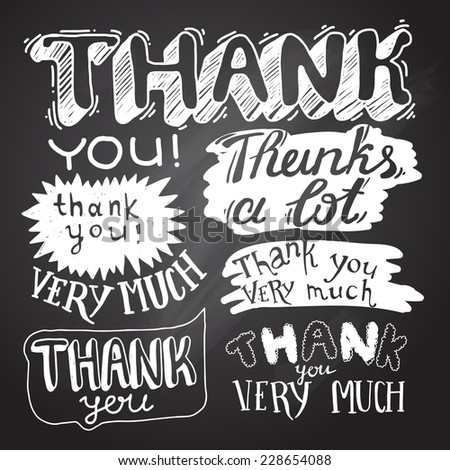 inscription of gratitude on the chalkboard - stock vector