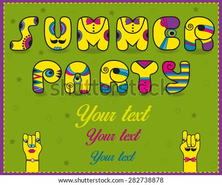 Inscription Summer Party. Funny yellow Letters with bright parts. Vector Illustration - stock vector