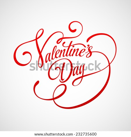 Inscription Valentine's Day Vector illustration - stock vector