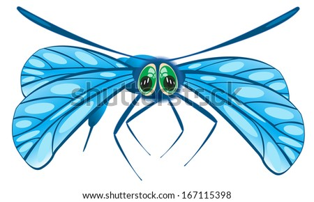 Insect dragonfly on white background is insulated - stock vector