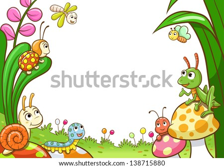insect frame. EPS10 File - simple Gradients, no Effects, no mesh, no Transparencies. - stock vector