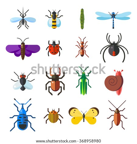 Insect icon flat set isolated on white background. Insects flat icons vector illustration. Nature flying insects isolated icons. Ladybird, butterfly, beetle vector ant. Vector insects icons - stock vector