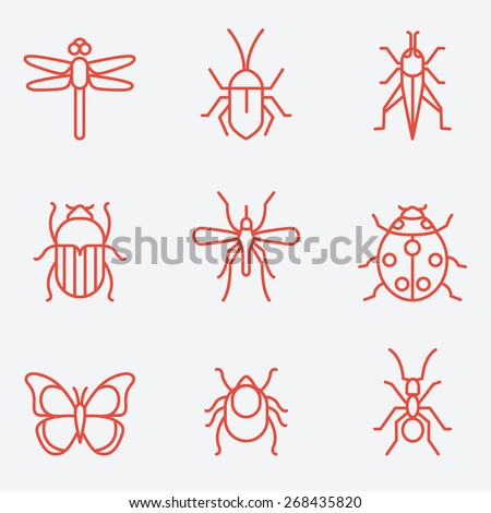 Insect icon set, thin line style, flat design - stock vector