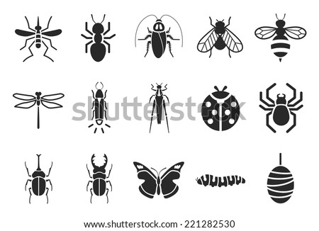 Insect icons - Illustration - stock vector