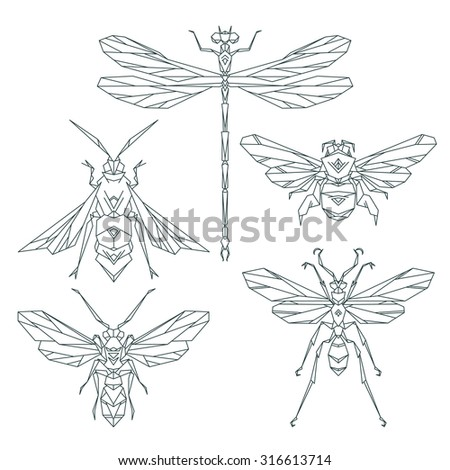Insect icons, vector set. Abstract triangular style. bee, bumble bee, dragonfly, wasp - stock vector