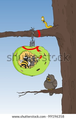 Insect-infested apple hanging on a tree branch - stock vector