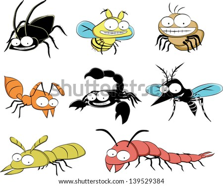 insect pests at home; spider, fly, termite, centipede, scorpion - stock vector