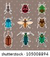 insect stickers - stock vector