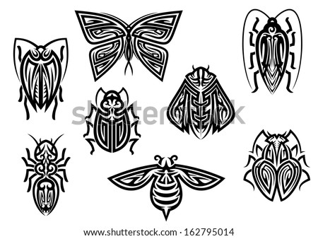 Insect tattoos in tribal style isolated on white background - stock vector