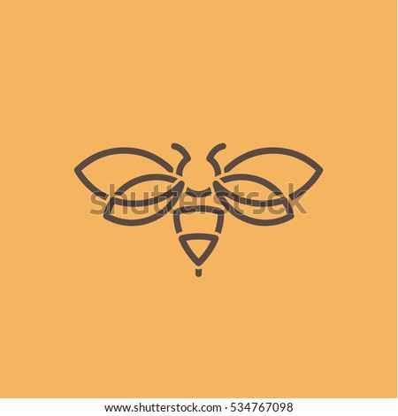 insect wasp illustration of a logos in the style modern design painted in minimalism art