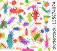 Insects and bugs colorful silhouettes illustration background vector - stock vector