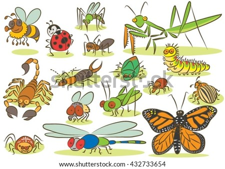Insects animals kids drawings - stock vector