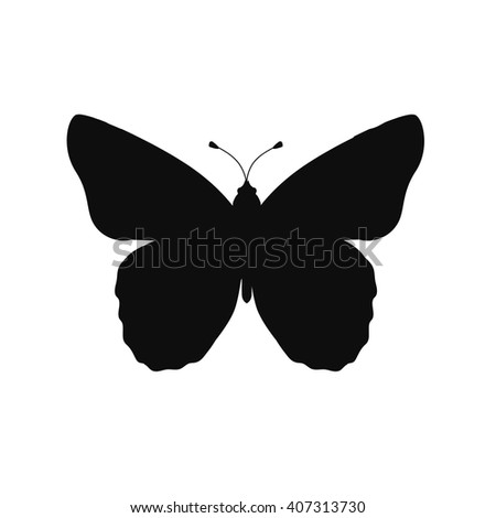Insects butterflies isolated on white background. Beautiful butterfly logo icon in black color. Insect flying isolated on white backdrop. Vector ilustration - stock vector