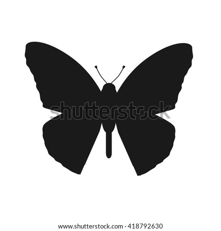 Insects butterflies isolated on white background. Beautiful butterfly logo icon in black color.  - stock vector