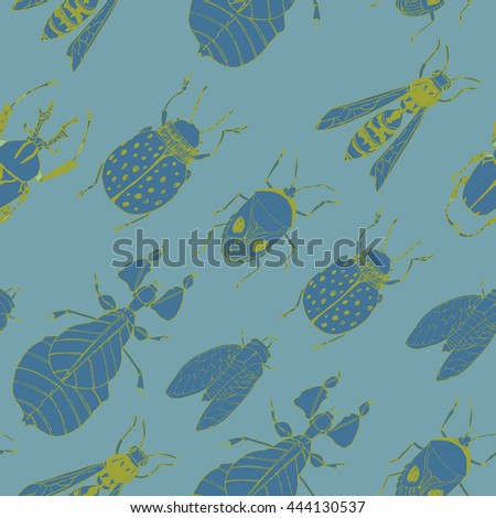 Insects seamless vector pattern. Nature beauty.