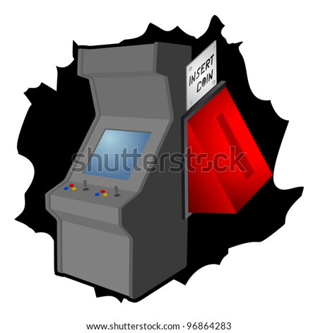 Insert coin arcade machine - stock vector
