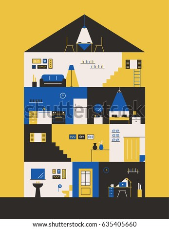inside apartment vector illustration flat design