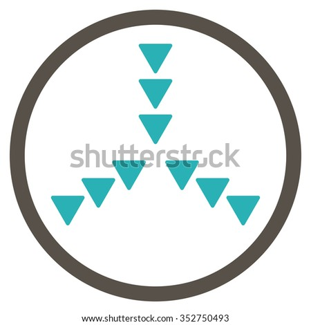 Inside Direction vector icon. Style is bicolor flat circled symbol, grey and cyan colors, rounded angles, white background.