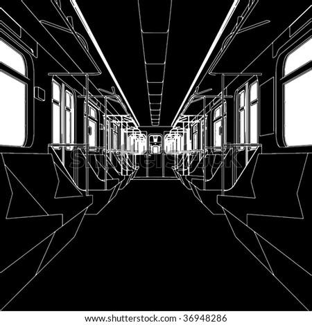Inside Of Metro Train Wagon Vector 01 - stock vector