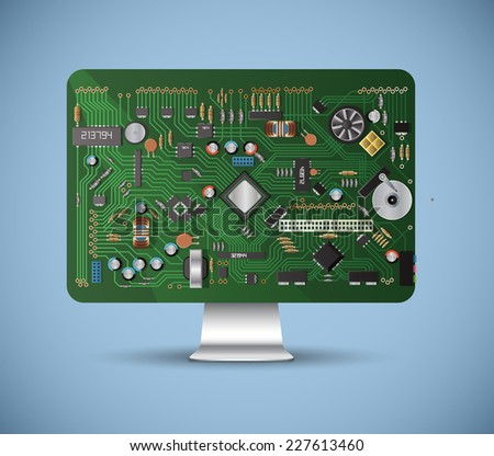 inside the computer - stock vector