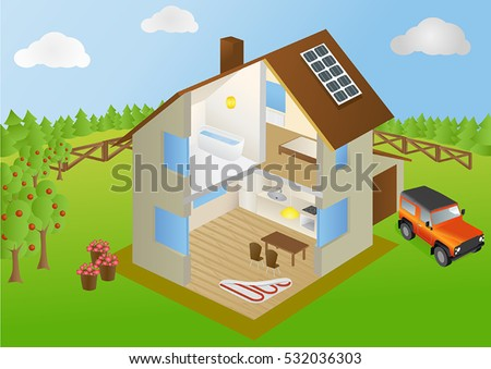 Inside eco home infographic cutaway diagram stock vector 532036303 infographic with cutaway diagram of house with interior of rooms ccuart Image collections