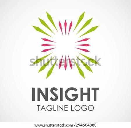Insight green beautiful line logo shine element design vector shape icon symbol business template company - stock vector