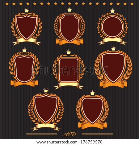 Insignia designs set vector shields, laurel wreaths and ribbons