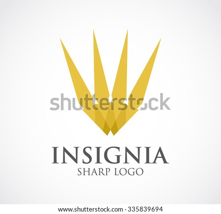 Insignia gold of sharp ribbon abstract vector and logo design or template luxury crown business icon of company identity symbol concept - stock vector