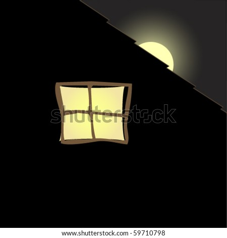 Insomnia and the full Moon Rising Over the Eaves. - stock vector