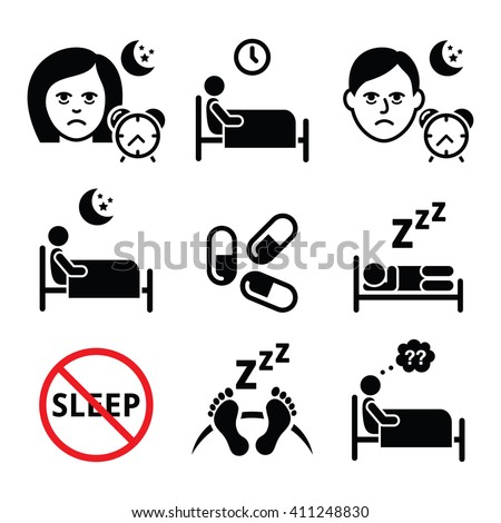 Insomnia, people having trouble with sleeping icons set  - stock vector